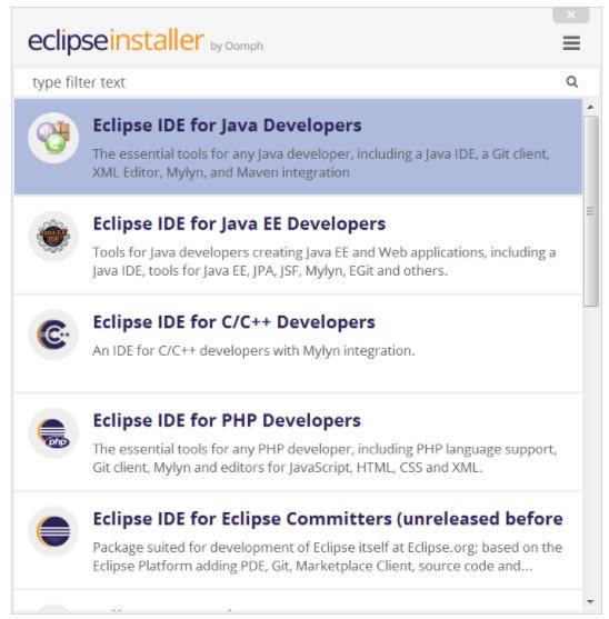 Eclipse vs Visual Studio - Eclipse installer