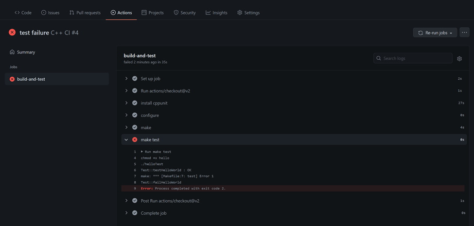Observe the results in GitHub_2_GitHub Actions C++
