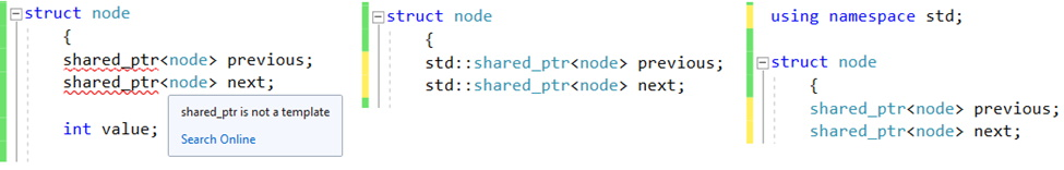 Example of using std shared_ptr